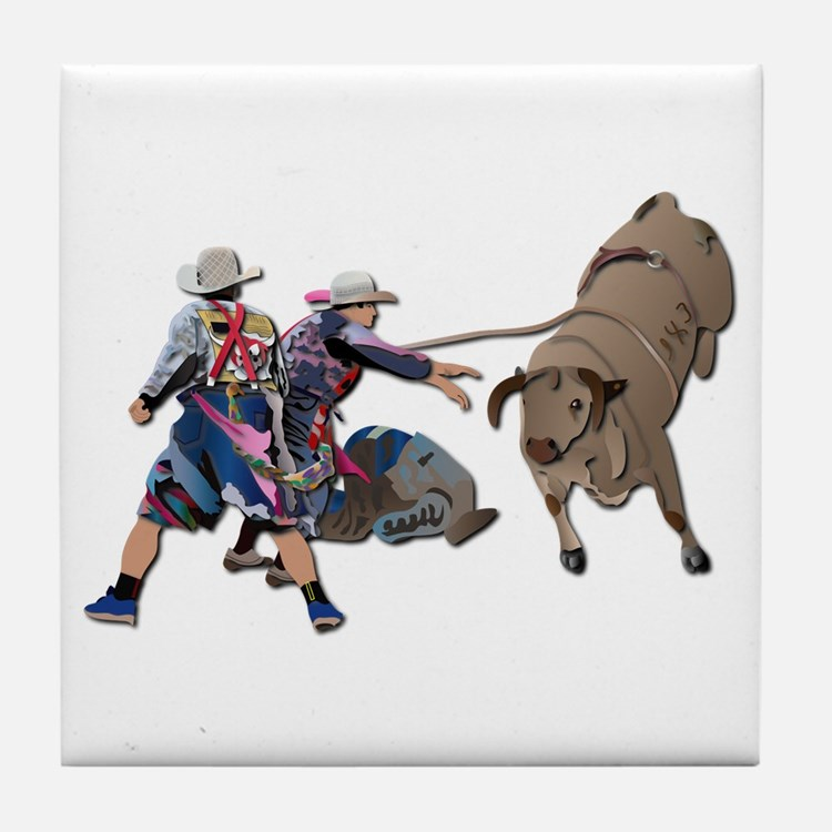 Clowns and Bull-2 without Text Tile Coaster