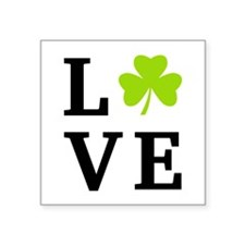 Love with green clover leaf Sticker