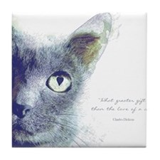 What greater gift than the love of a cat Tile Coas