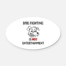 Dog Fighting Oval Car Magnet