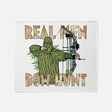 Real Men Bow Hunt Throw Blanket