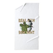 Real Men Bow Hunt Beach Towel