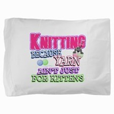 Knitting Kitten Pillow Sham