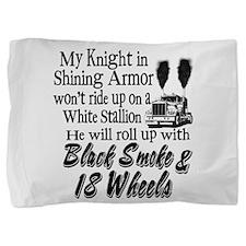 Black Smoke & 18 Wheels Pillow Sham