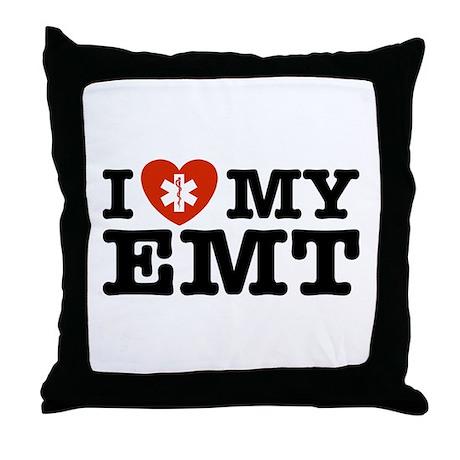 I Love My EMT Throw Pillow