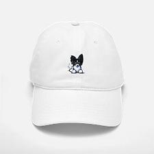 B/W Papillon Baseball Baseball Cap