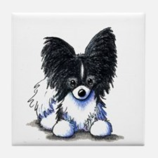 B/W Papillon Tile Coaster