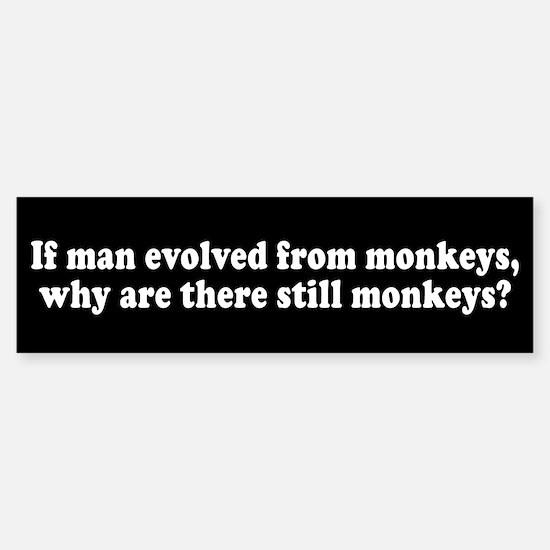 Man Evolved from Monkeys? Bumper Bumper Bumper Sticker