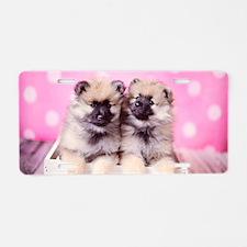 Keeshond Puppy Girls  Pink Aluminum License Plate
