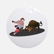 Clown and Bull 1-No-Text Ornament (Round)