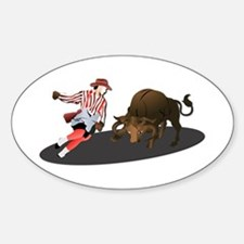 Clown and Bull 1-No-Text Sticker (Oval)
