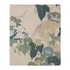 Morning Glories by Hokusai Throw Blanket