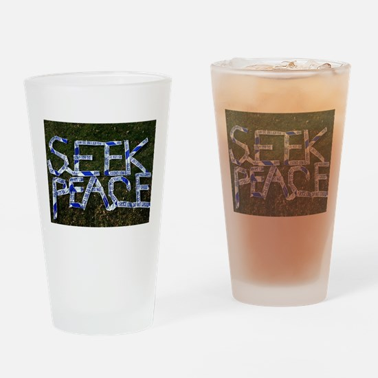 SEEK PEACE made of POLICE LINE tape Drinking Glass