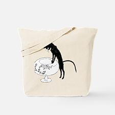 Cat Peering into Fishbowl Tote Bag
