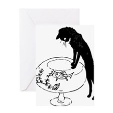 Cat Peering into Fishbowl Greeting Card