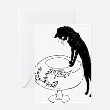 Cat Peering into Fishbowl Greeting Card