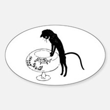 Cat Peering into Fishbowl Sticker (Oval)