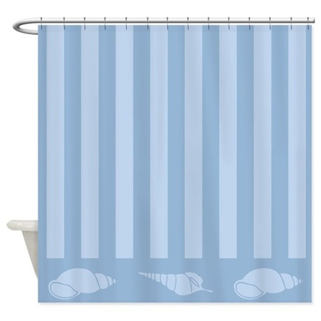 beach themed seashell blue shower curtain by mainstreethomewares. Black Bedroom Furniture Sets. Home Design Ideas