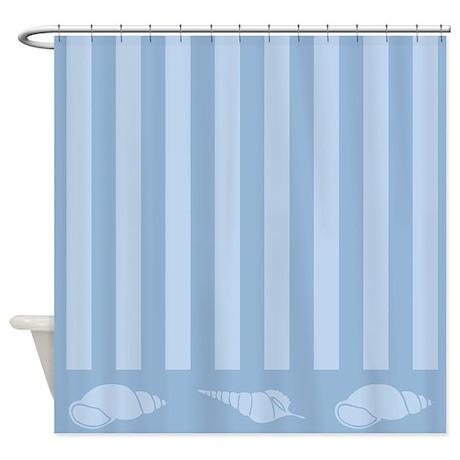 Beach Themed Seashell Blue Shower Curtain By Mainstreethomewares