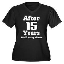 Cute Anniversary 15 years Women's Plus Size V-Neck Dark T-Shirt