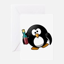 Drunk Penguin Greeting Cards