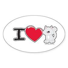 I Love Kitten Oval Decal