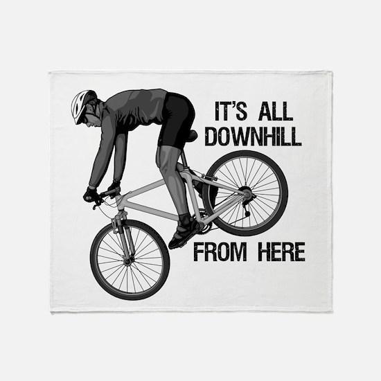 Downhill Mountain Biker Throw Blanket