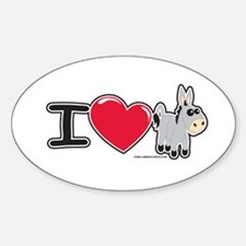 I Love Donkey Oval Decal