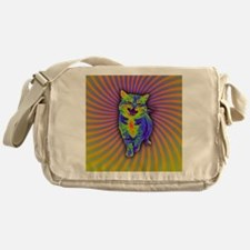 Psychedelic Kitty Messenger Bag