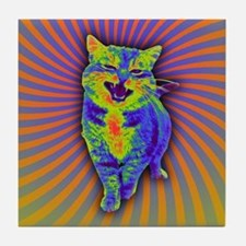 Psychedelic Kitty Tile Coaster