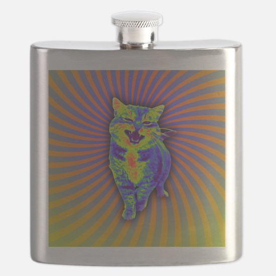 Psychedelic Kitty Flask