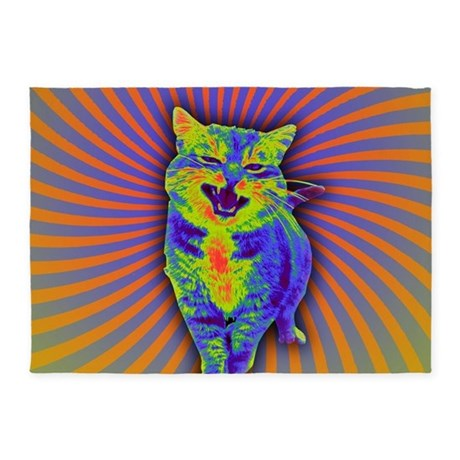 Psychedelic Kitty 5 X7 Area Rug By Admin Cp128382167