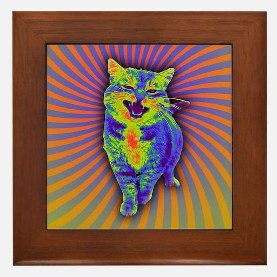 Psychedelic Kitty Framed Tile