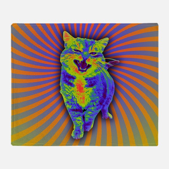 Psychedelic Kitty Throw Blanket