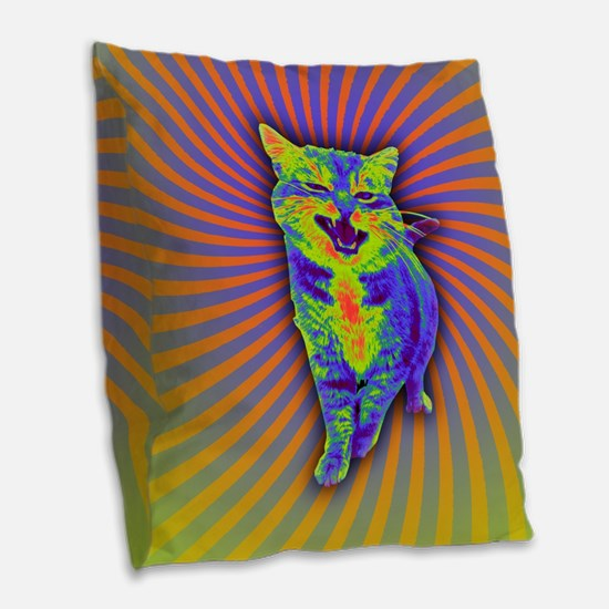Psychedelic Kitty Burlap Throw Pillow
