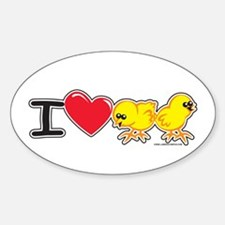 I Love Chicks Oval Decal