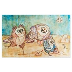 Owls on the beach Canvas Art