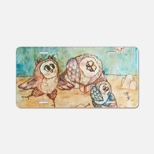 Owls on the beach Aluminum License Plate