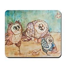 Owls on the beach Mousepad