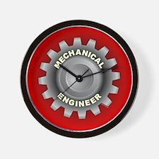 Mechanical Engineer Gear Red Wall Clock