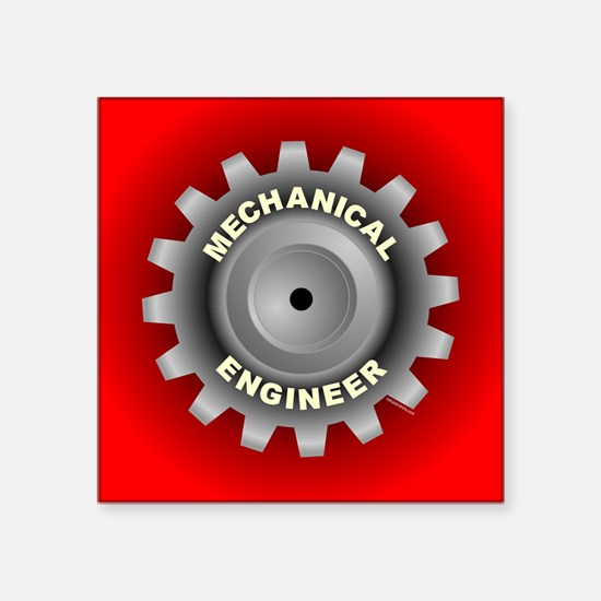 "Mechanical Engineer Gear R Square Sticker 3"" x 3"""