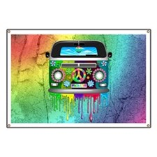 Hippie Van Dripping Rainbow Paint Banner