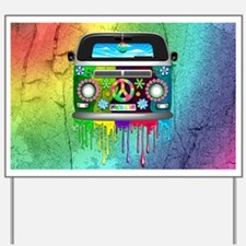 Hippie Van Dripping Rainbow Paint Yard Sign