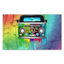 Hippie Van Dripping Rainbow Paint Decal