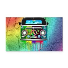 Hippie Van Dripping Rainbow Paint Rectangle Car Ma