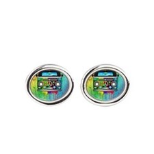 Hippie Van Dripping Rainbow Paint Oval Cufflinks