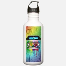 Hippie Van Dripping Rainbow Paint Water Bottle