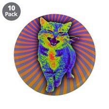 "Psychedelic Kitty 3.5"" Button (10 pack)"