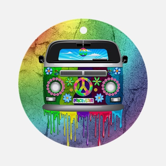 Hippie Van Dripping Rainbow Paint Ornament (Round)
