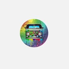Hippie Van Dripping Rainbow Paint Mini Button (100